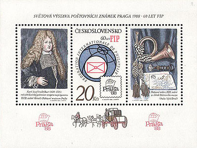Picture of Block of stamps for the PRAGA 1988 World Stamp Exhibition and 60th Anniversary of FIP