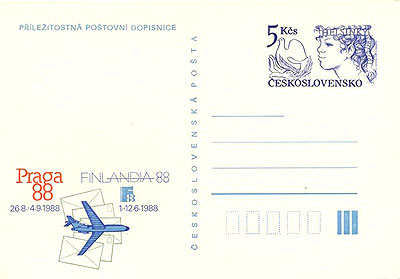 Picture of Commemorative postal stationery for the exhibitions Finlandia 1988 and PRAGA 1988