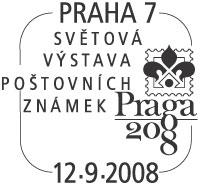 """Razítko - """"Světová výstava poštovních známek PRAGA 2008"""""""