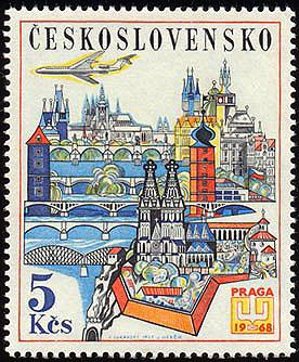 Obrázek - Známka ke Světové výstavě poštovních známek PRAGA 1968