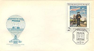 Obrázek - FDC se známkou ke Světové výstavě poštovních známek PRAGA 1968