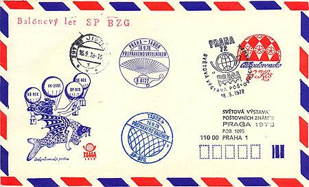Obrázek - Letecká celinová obálka – balony z Tábora ke Světové výstavě poštovních známek PRAGA 1978