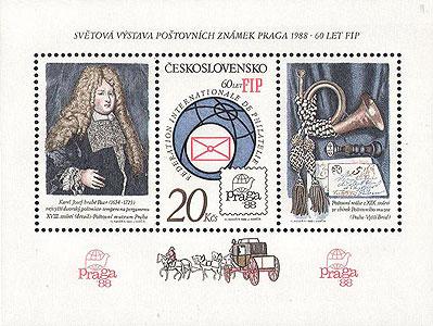 Obrázek - Aršík ke Světové výstavě poštovních známek PRAGA 1988 a 60 let FIP
