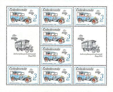 Obrázek - Technické památky – speciální přepážkový list známek ke Světové výstavě poštovních známek PRAGA 1988