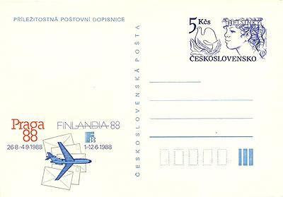 Obrázek - Příležitostná dopisnice k výstavě Finlandia 1988 a PRAGA 1988